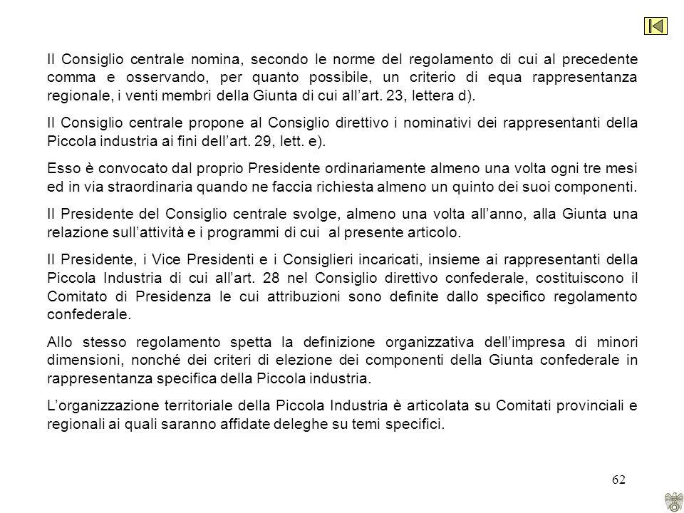 62 Il Consiglio centrale nomina, secondo le norme del regolamento di cui al precedente comma e osservando, per quanto possibile, un criterio di equa rappresentanza regionale, i venti membri della Giunta di cui allart.
