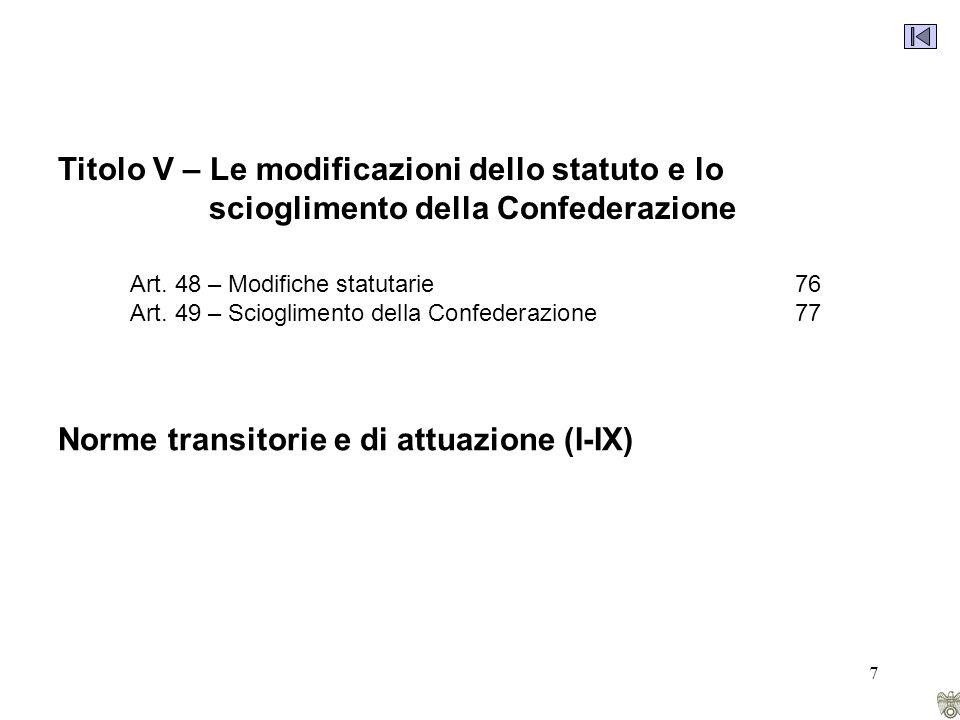 7 Titolo V – Le modificazioni dello statuto e lo scioglimento della Confederazione Art.