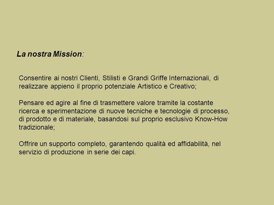 La nostra Mission: Consentire ai nostri Clienti, Stilisti e Grandi Griffe Internazionali, di realizzare appieno il proprio potenziale Artistico e Crea