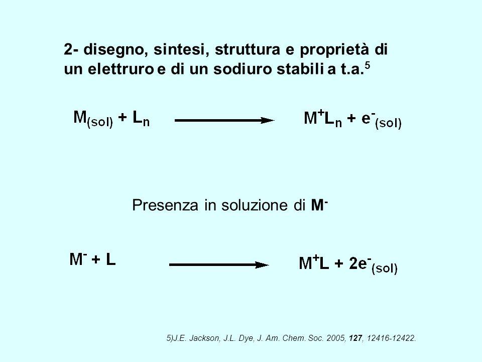 2- disegno, sintesi, struttura e proprietà di un elettruro e di un sodiuro stabili a t.a. 5 Presenza in soluzione di M - 5)J.E. Jackson, J.L. Dye, J.