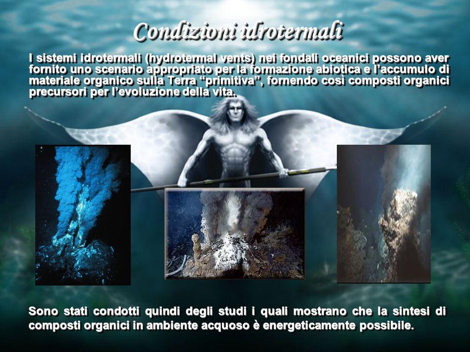 Condizioni idrotermali I sistemi idrotermali (hydrotermal vents) nei fondali oceanici possono aver fornito uno scenario appropriato per la formazione