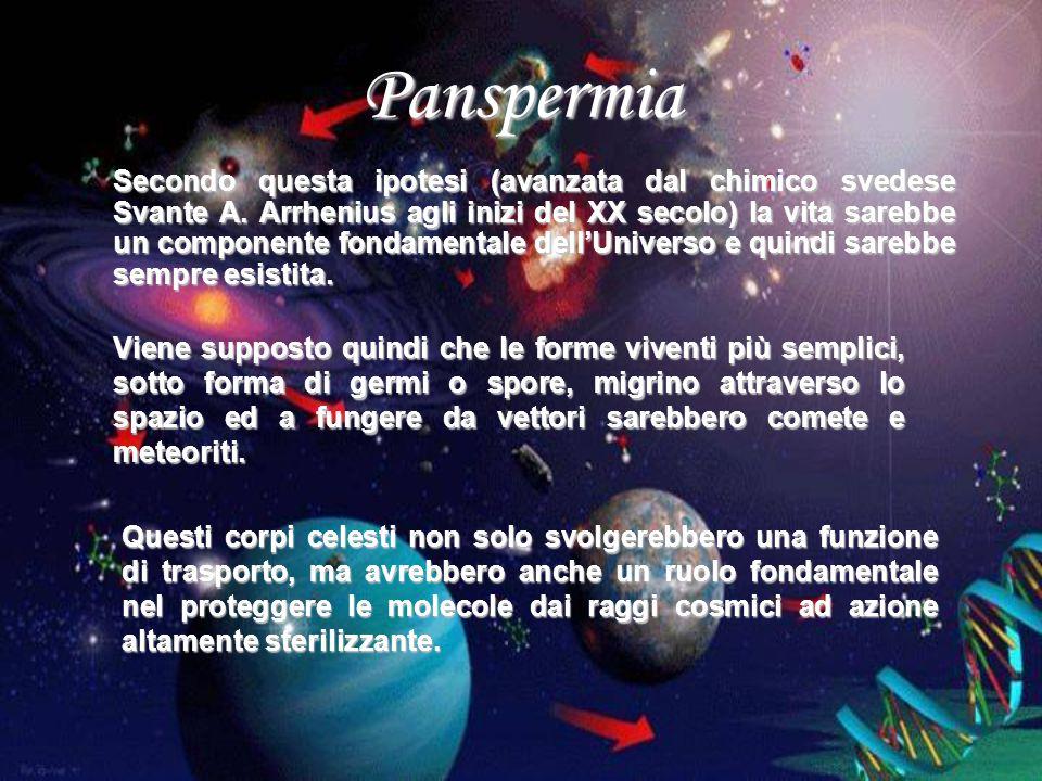 Panspermia Secondo questa ipotesi (avanzata dal chimico svedese Svante A. Arrhenius agli inizi del XX secolo) la vita sarebbe un componente fondamenta
