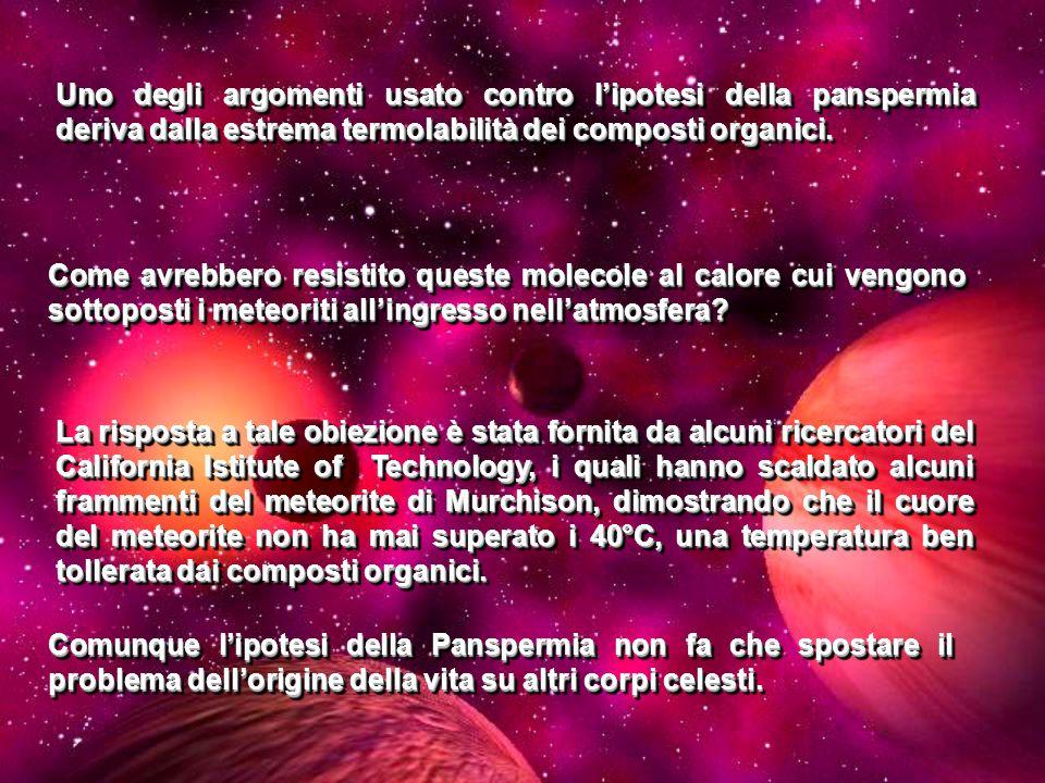 Uno degli argomenti usato contro lipotesi della panspermia deriva dalla estrema termolabilità dei composti organici. La risposta a tale obiezione è st