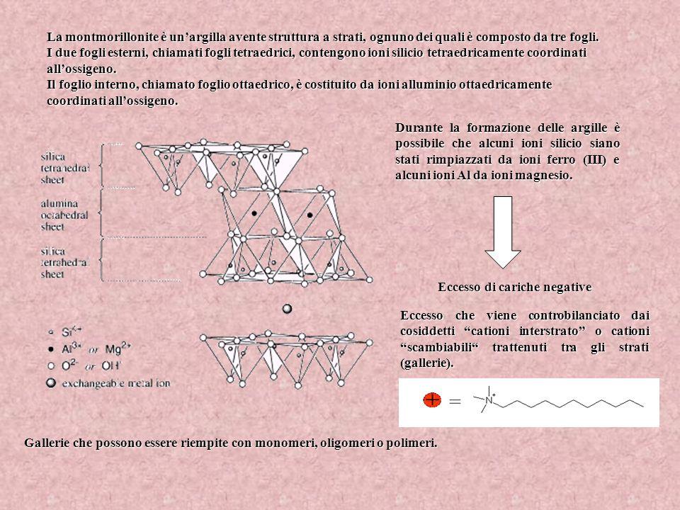 La montmorillonite è unargilla avente struttura a strati, ognuno dei quali è composto da tre fogli. I due fogli esterni, chiamati fogli tetraedrici, c