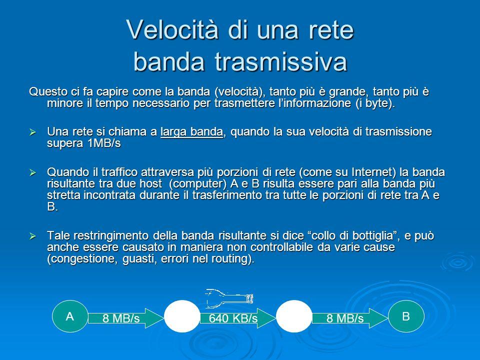 Velocità di una rete banda trasmissiva Questo ci fa capire come la banda (velocità), tanto più è grande, tanto più è minore il tempo necessario per trasmettere linformazione (i byte).