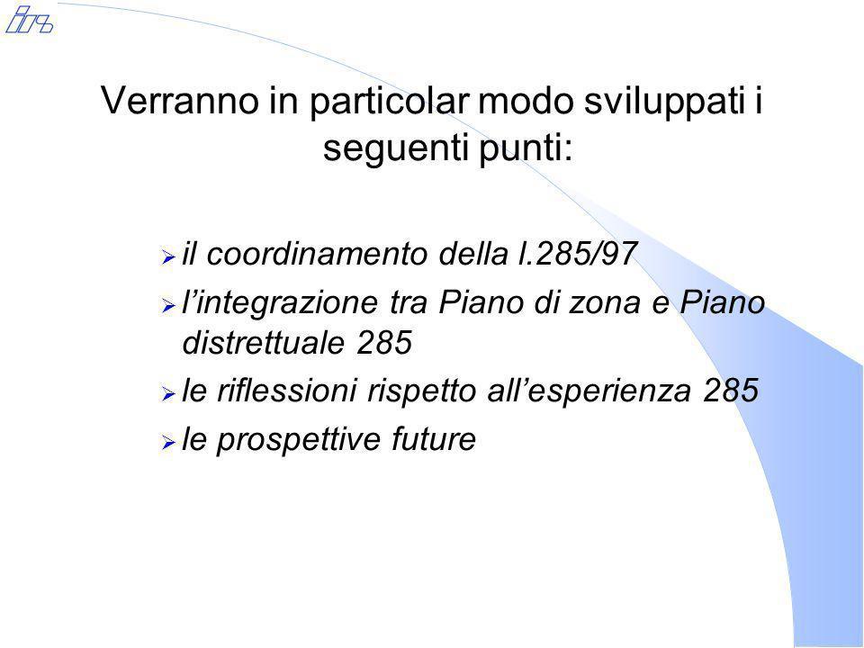 Verranno in particolar modo sviluppati i seguenti punti: il coordinamento della l.285/97 lintegrazione tra Piano di zona e Piano distrettuale 285 le riflessioni rispetto allesperienza 285 le prospettive future