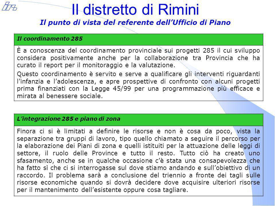 Il distretto di Rimini Il punto di vista del referente dellUfficio di Piano Il coordinamento 285 È a conoscenza del coordinamento provinciale sui progetti 285 il cui sviluppo considera positivamente anche per la collaborazione tra Provincia che ha curato il report per il monitoraggio e la valutazione.