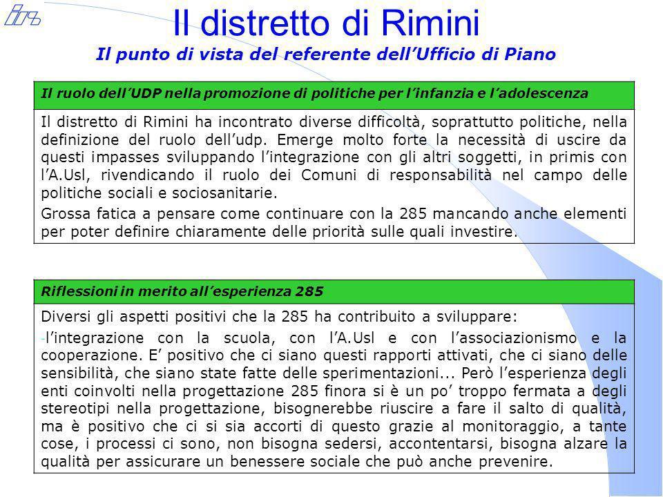 Il distretto di Rimini Il punto di vista del referente dellUfficio di Piano Il ruolo dellUDP nella promozione di politiche per linfanzia e ladolescenza Il distretto di Rimini ha incontrato diverse difficoltà, soprattutto politiche, nella definizione del ruolo delludp.