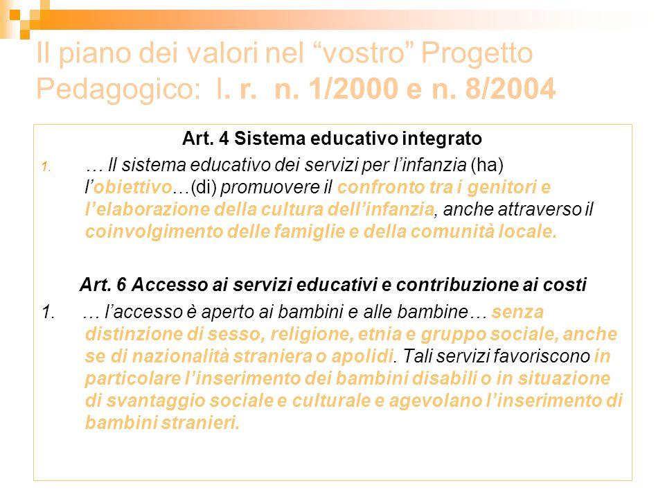 Art. 4 Sistema educativo integrato 1. … ll sistema educativo dei servizi per linfanzia (ha) lobiettivo…(di) promuovere il confronto tra i genitori e l