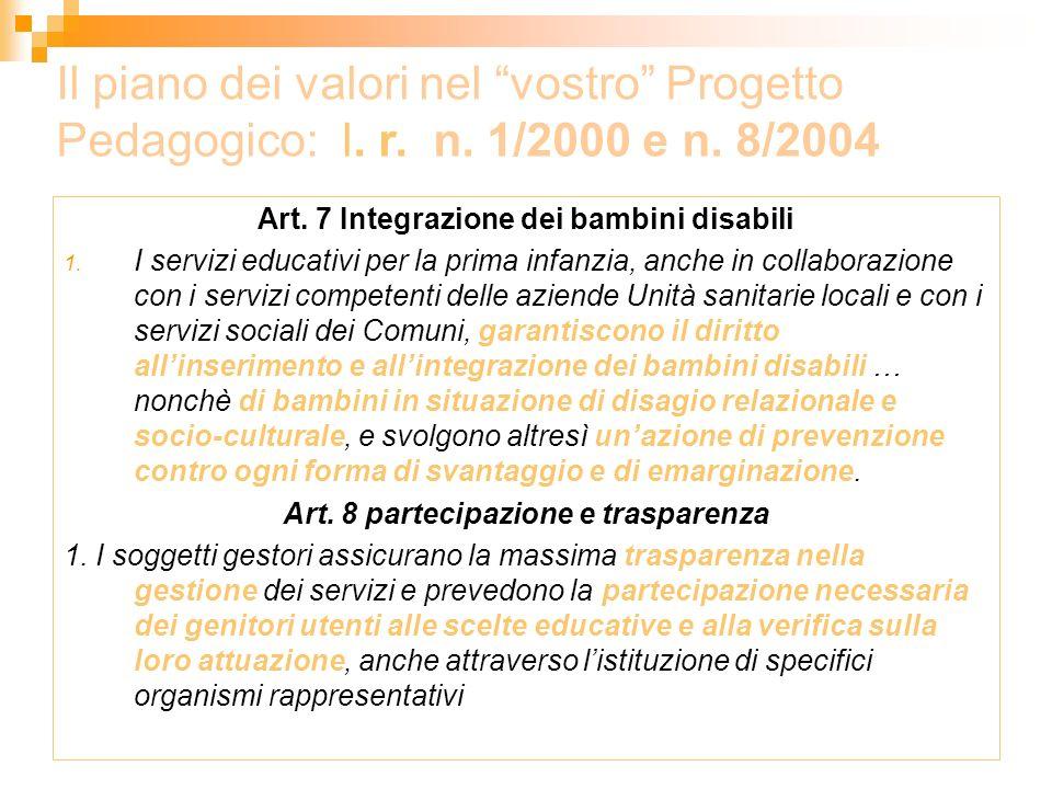 Art. 7 Integrazione dei bambini disabili 1. I servizi educativi per la prima infanzia, anche in collaborazione con i servizi competenti delle aziende