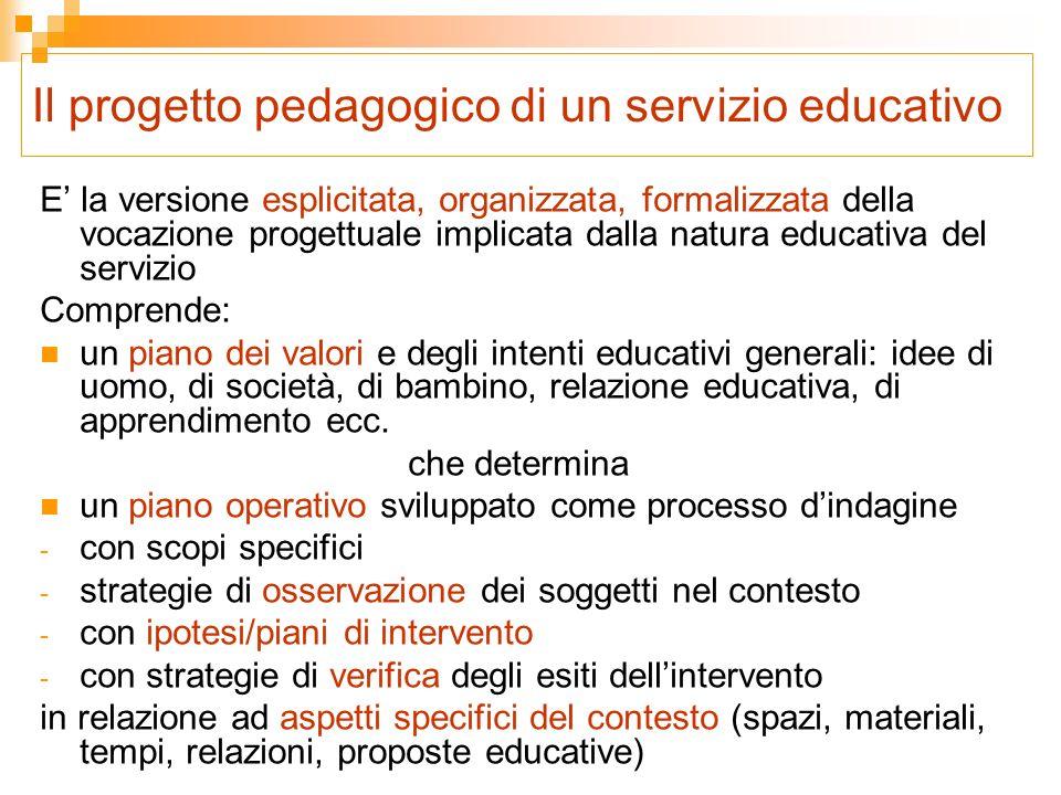 Il progetto pedagogico di un servizio educativo E la versione esplicitata, organizzata, formalizzata della vocazione progettuale implicata dalla natur