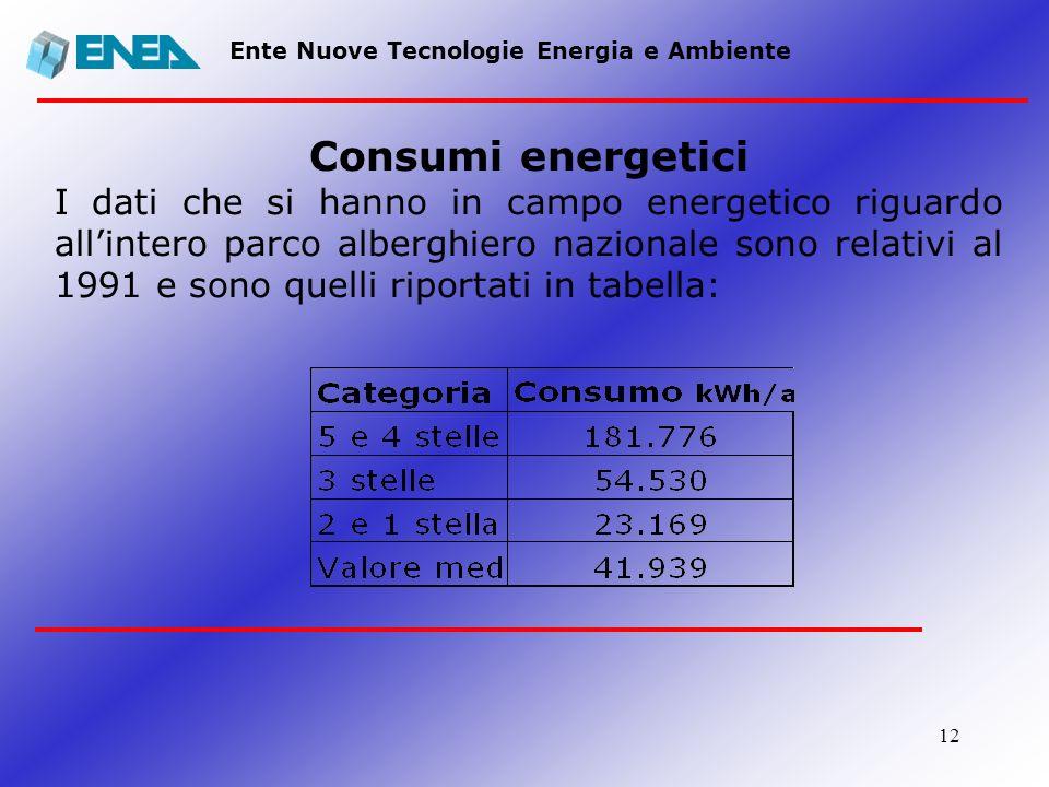 12 Ente Nuove Tecnologie Energia e Ambiente Consumi energetici I dati che si hanno in campo energetico riguardo allintero parco alberghiero nazionale