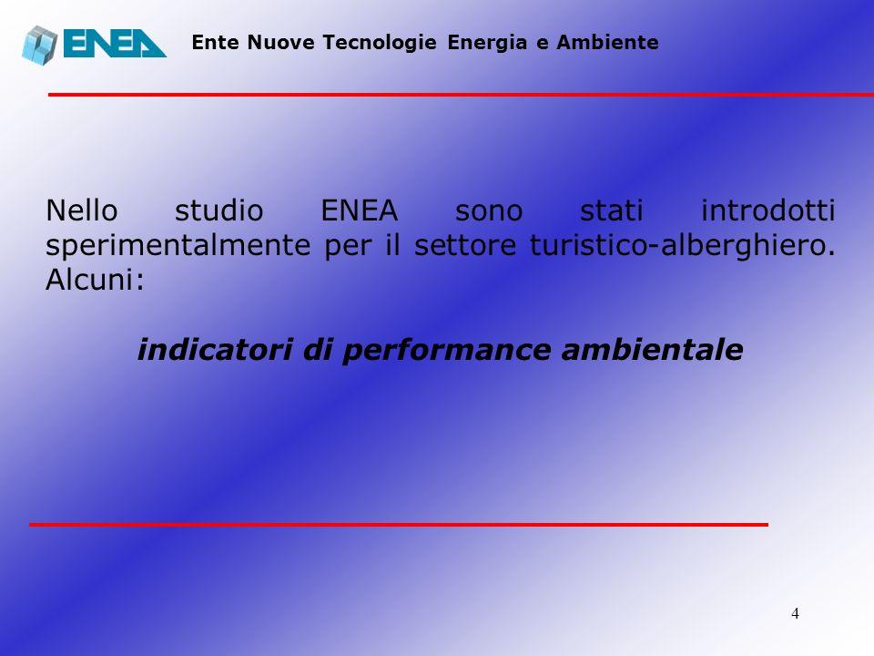 4 Ente Nuove Tecnologie Energia e Ambiente Nello studio ENEA sono stati introdotti sperimentalmente per il settore turistico-alberghiero. Alcuni: indi