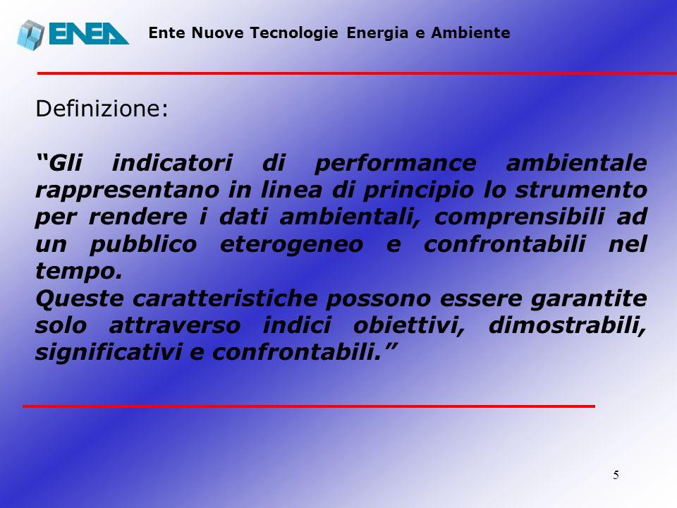 5 Ente Nuove Tecnologie Energia e Ambiente Definizione: Gli indicatori di performance ambientale rappresentano in linea di principio lo strumento per