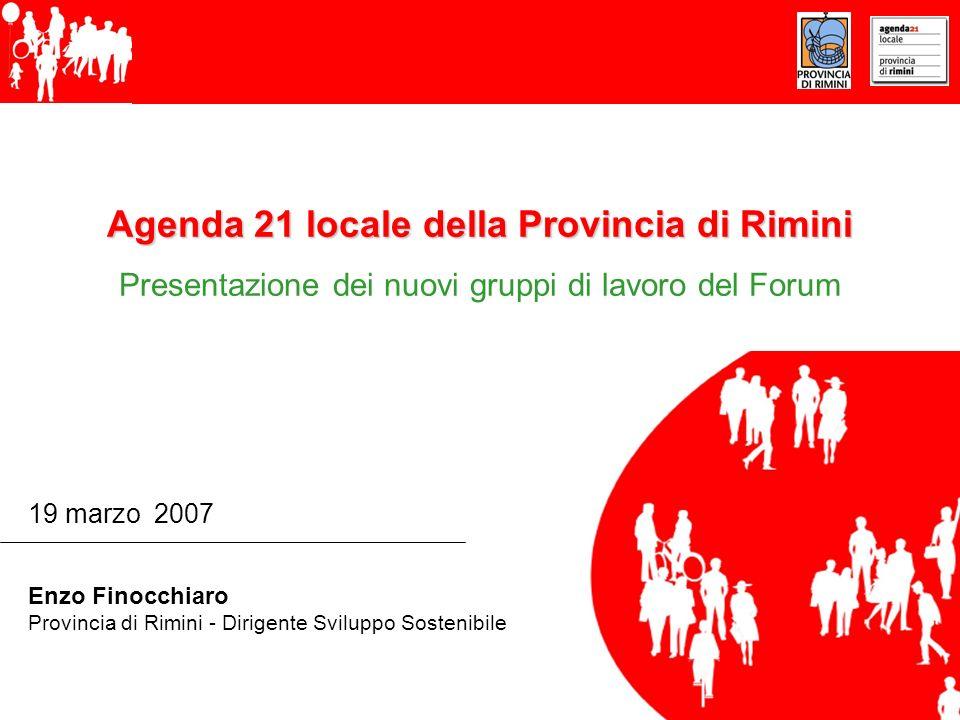 Agenda 21 locale della Provincia di Rimini Presentazione dei nuovi gruppi di lavoro del Forum 19 marzo 2007 Enzo Finocchiaro Provincia di Rimini - Dirigente Sviluppo Sostenibile