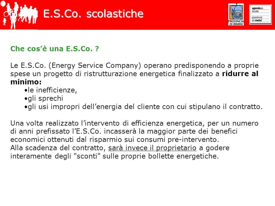 E.S.Co. scolastiche Che cosè una E.S.Co. ? Le E.S.Co. (Energy Service Company) operano predisponendo a proprie spese un progetto di ristrutturazione e