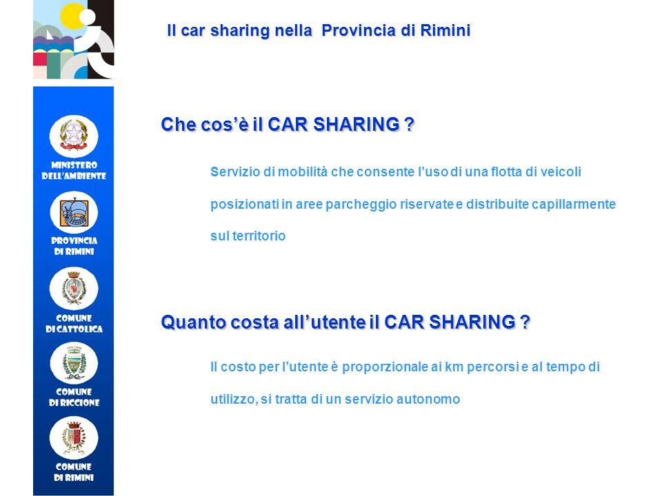 Il car sharing nella Provincia di Rimini Che cosè il CAR SHARING ? Servizio di mobilità che consente luso di una flotta di veicoli posizionati in aree