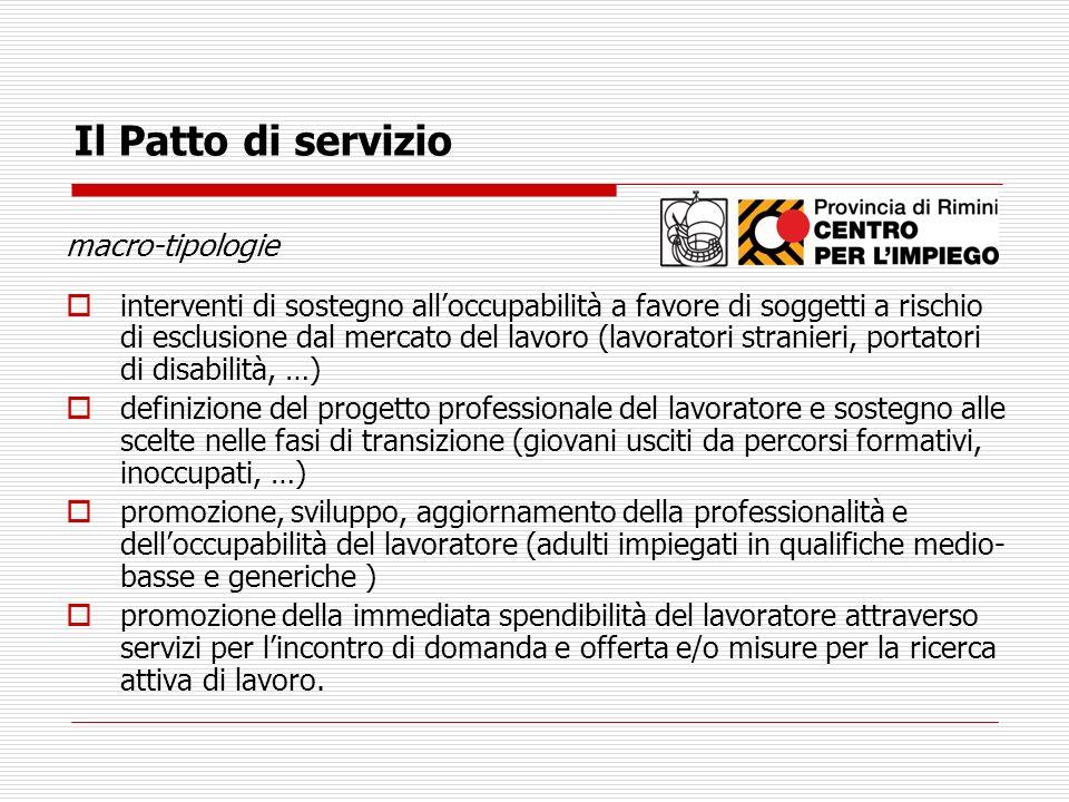 Il Patto di servizio macro-tipologie interventi di sostegno alloccupabilità a favore di soggetti a rischio di esclusione dal mercato del lavoro (lavor