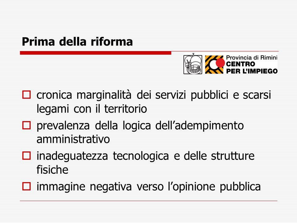 Prima della riforma cronica marginalità dei servizi pubblici e scarsi legami con il territorio prevalenza della logica delladempimento amministrativo