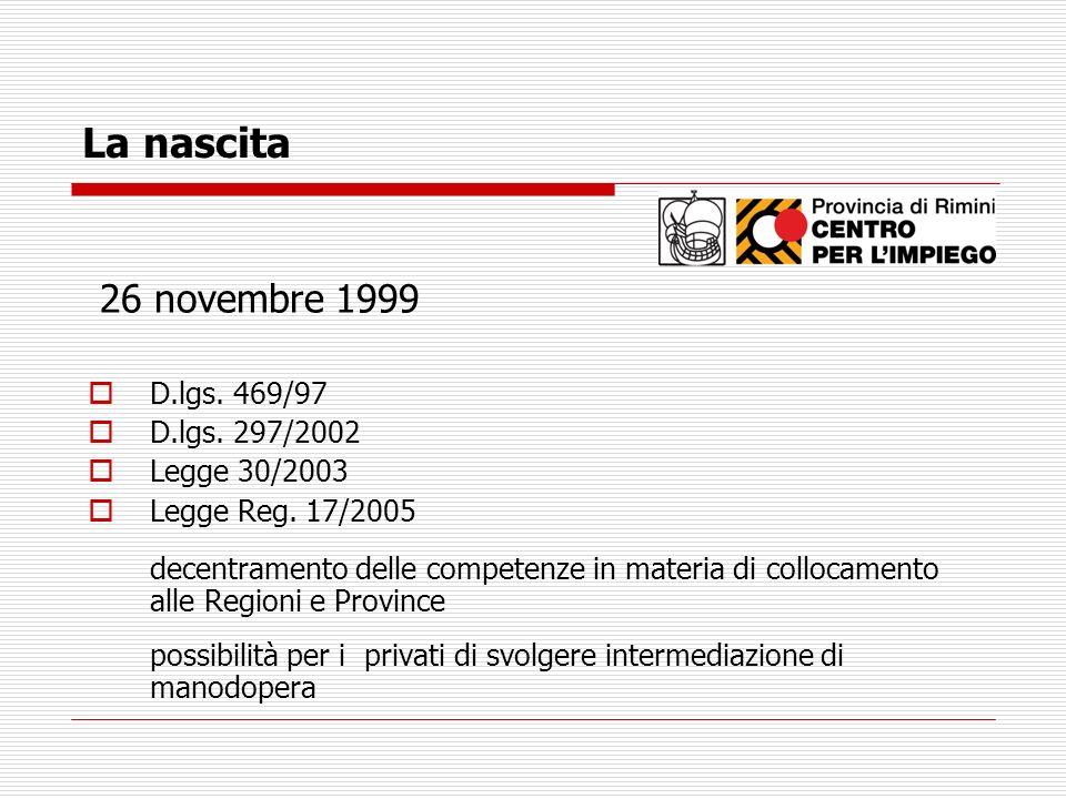 La nascita 26 novembre 1999 D.lgs. 469/97 D.lgs. 297/2002 Legge 30/2003 Legge Reg. 17/2005 decentramento delle competenze in materia di collocamento a