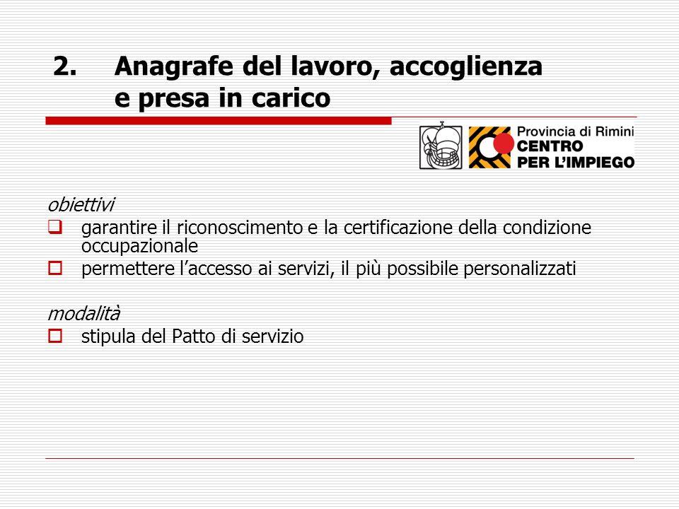 obiettivi garantire il riconoscimento e la certificazione della condizione occupazionale permettere laccesso ai servizi, il più possibile personalizza