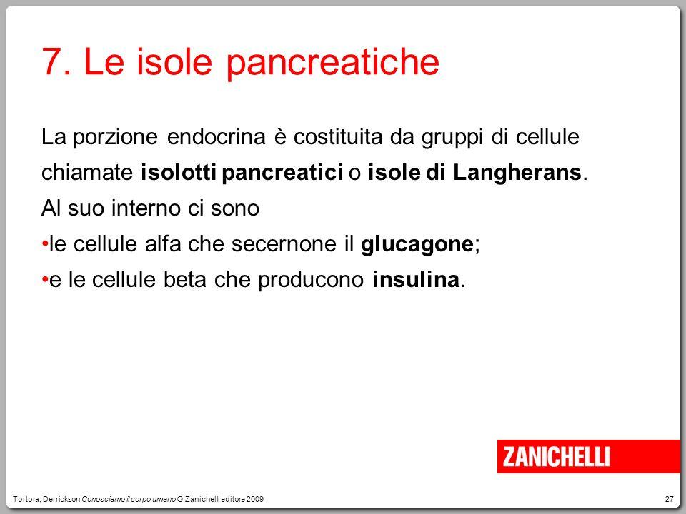 27 7. Le isole pancreatiche La porzione endocrina è costituita da gruppi di cellule chiamate isolotti pancreatici o isole di Langherans. Al suo intern