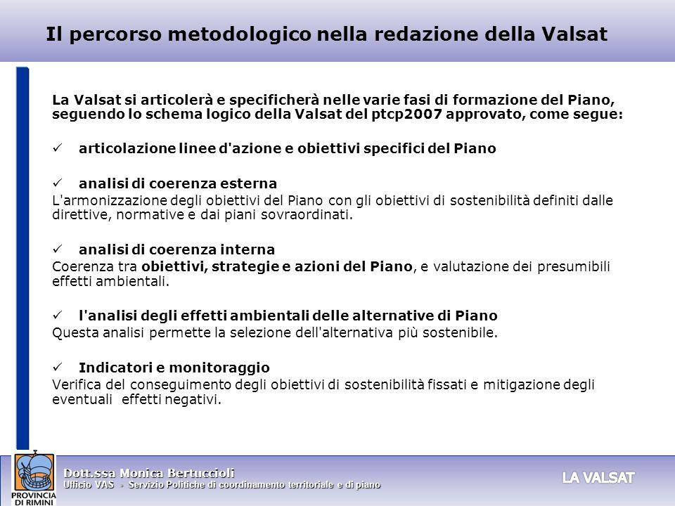 Dott.ssa Monica Bertuccioli Ufficio VAS - Servizio Politiche di coordinamento territoriale e di piano Il percorso metodologico nella redazione della V