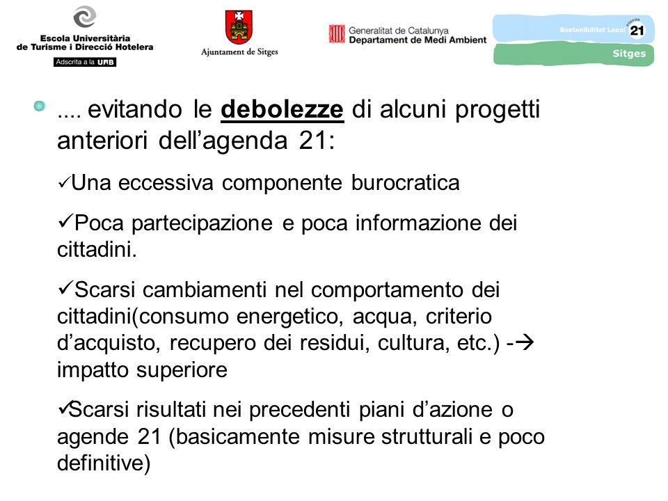 .... evitando le debolezze di alcuni progetti anteriori dellagenda 21: Una eccessiva componente burocratica Poca partecipazione e poca informazione de