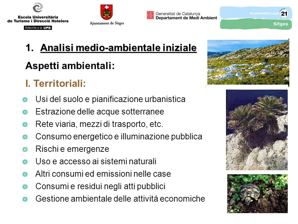 1.Analisi medio-ambientale iniziale Aspetti ambientali: I.