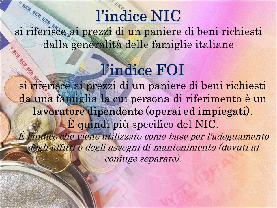 lindice NIC si riferisce ai prezzi di un paniere di beni richiesti dalla generalità delle famiglie italiane lindice FOI si riferisce ai prezzi di un p