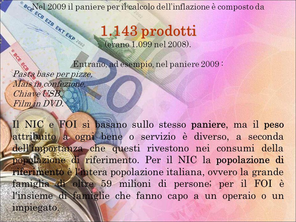Nel 2009 il paniere per il calcolo dellinflazione è composto da 1.143 prodotti (erano 1.099 nel 2008). Entrano, ad esempio, nel paniere 2009 : Pasta b