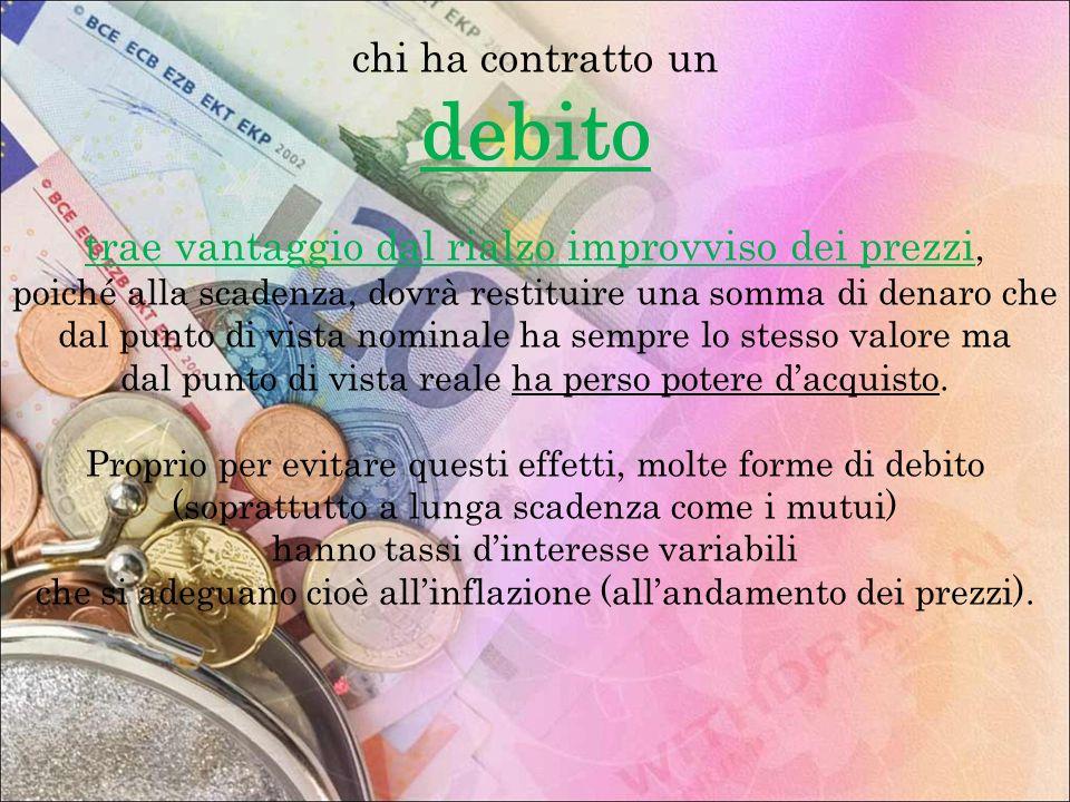chi ha contratto un debito trae vantaggio dal rialzo improvviso dei prezzi, poiché alla scadenza, dovrà restituire una somma di denaro che dal punto d