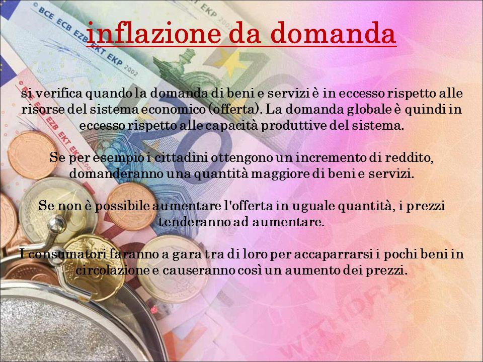 inflazione da domanda si verifica quando la domanda di beni e servizi è in eccesso rispetto alle risorse del sistema economico (offerta). La domanda g