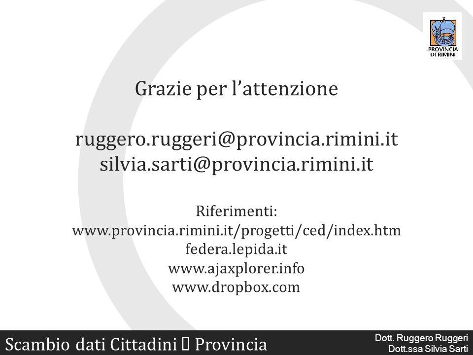 Scambio dati digitali Cittadini Provincia Dott. Ruggero Ruggeri Dott.ssa Silvia Sarti