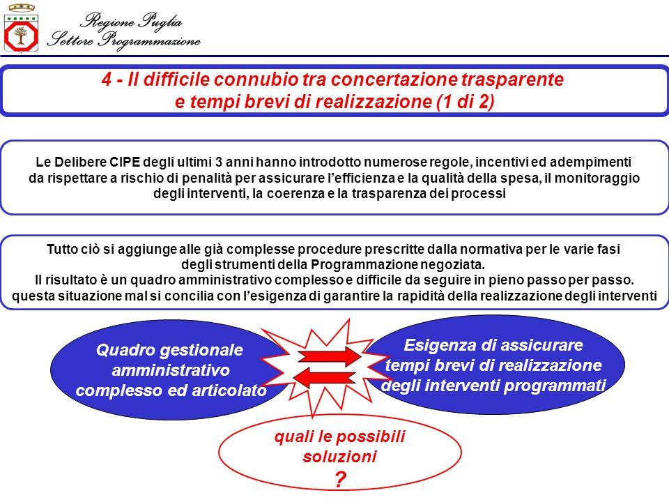 Regione Puglia Settore Programmazione 4 - Il difficile connubio tra concertazione trasparente e tempi brevi di realizzazione (2 di 2) Delibera CIPE n.
