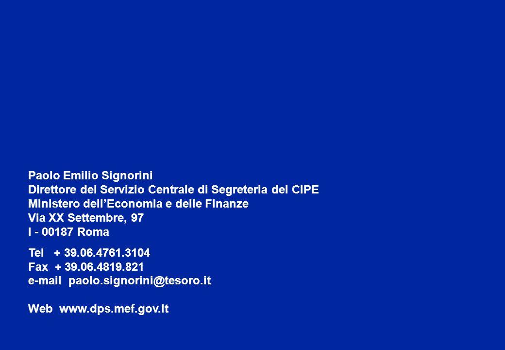 13 Paolo Emilio Signorini Direttore del Servizio Centrale di Segreteria del CIPE Ministero dellEconomia e delle Finanze Via XX Settembre, 97 I - 00187 Roma Tel + 39.06.4761.3104 Fax + 39.06.4819.821 e-mail paolo.signorini@tesoro.it Web www.dps.mef.gov.it