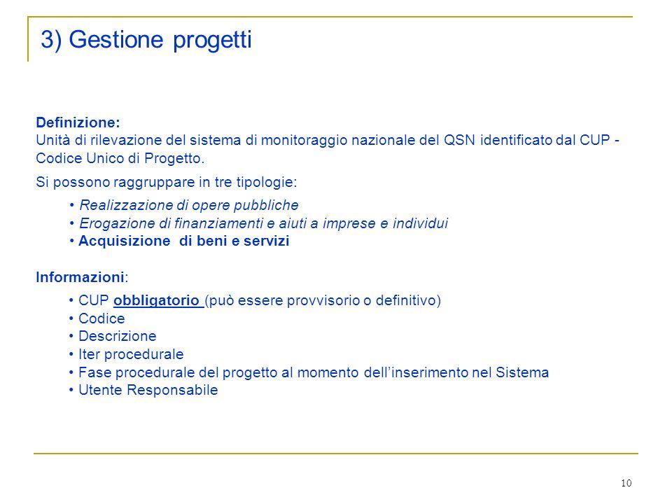 10 3) Gestione progetti Definizione: Unità di rilevazione del sistema di monitoraggio nazionale del QSN identificato dal CUP - Codice Unico di Progetto.