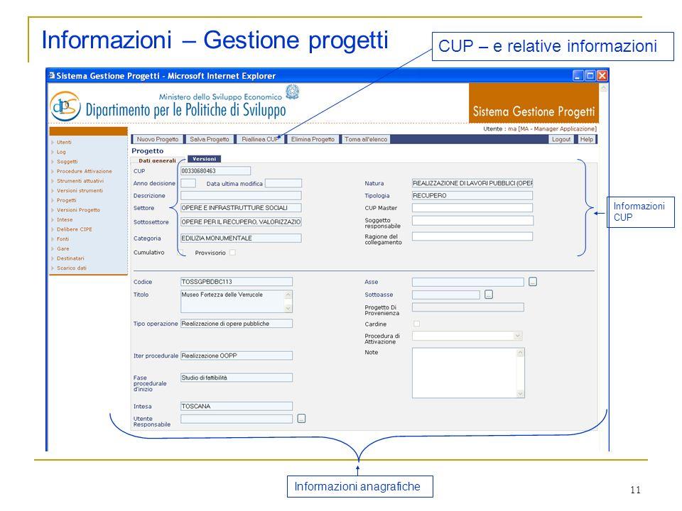 11 Informazioni – Gestione progetti CUP – e relative informazioni Informazioni CUP Informazioni anagrafiche