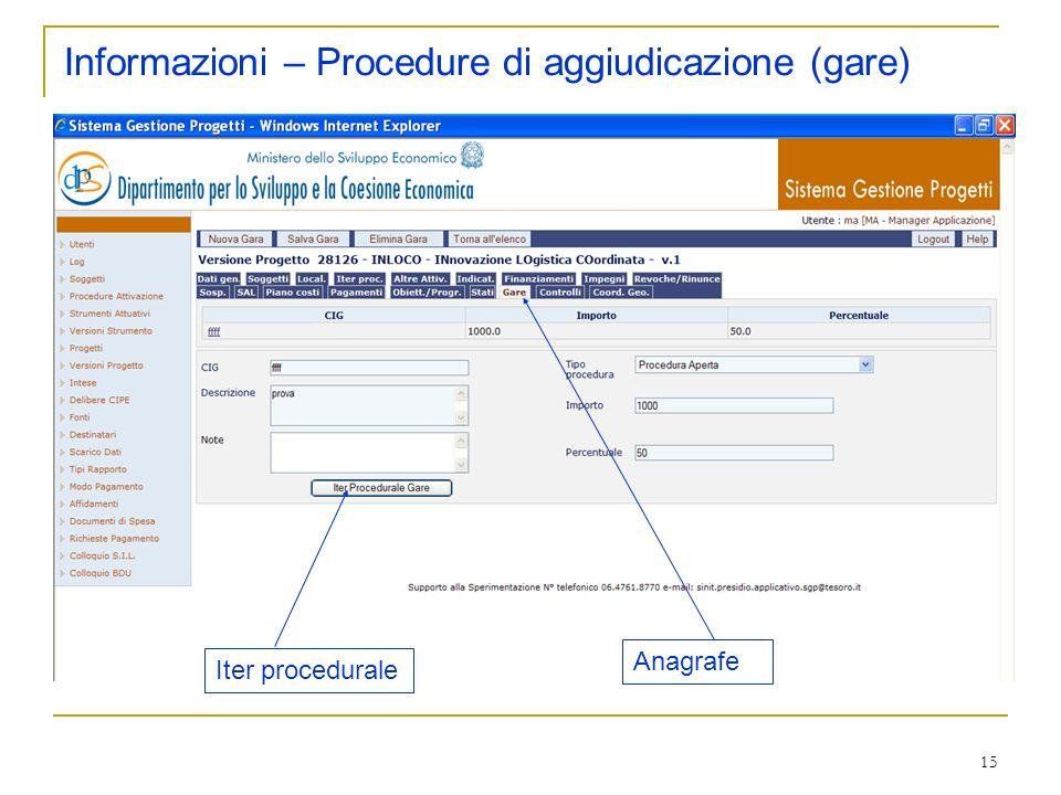 15 Informazioni – Procedure di aggiudicazione (gare) Anagrafe Iter procedurale