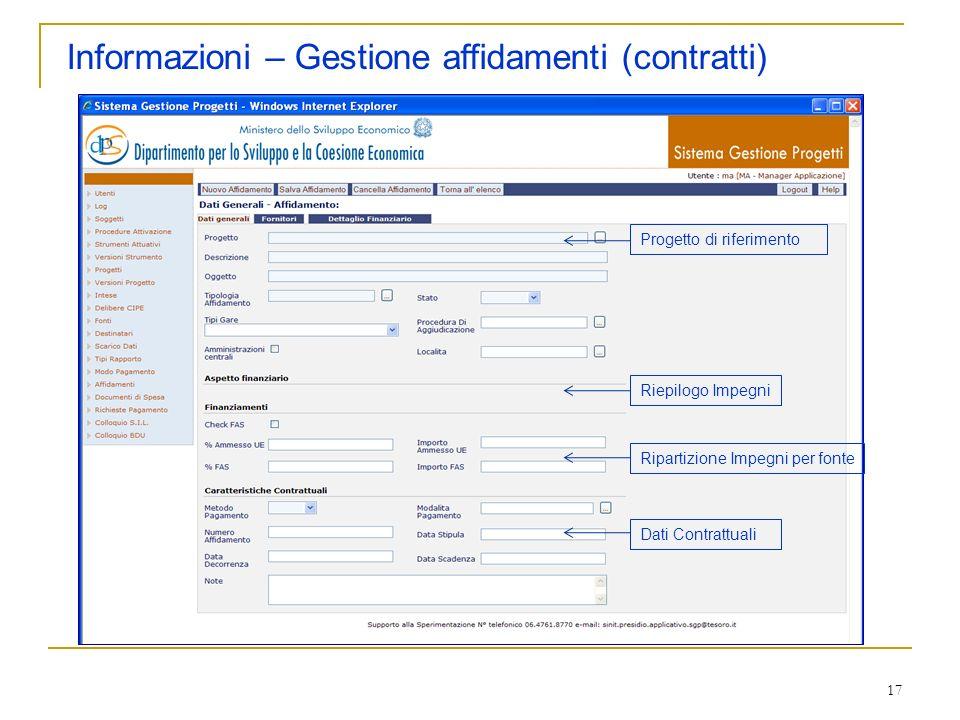 17 Informazioni – Gestione affidamenti (contratti) Progetto di riferimento Ripartizione Impegni per fonte Dati Contrattuali Riepilogo Impegni