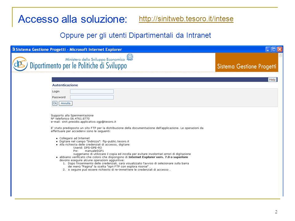 2 Accesso alla soluzione: http://sinitweb.tesoro.it/intese Oppure per gli utenti Dipartimentali da Intranet