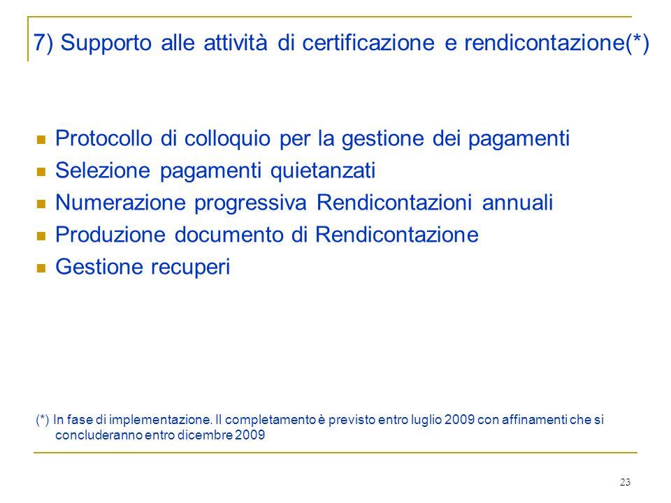 23 Protocollo di colloquio per la gestione dei pagamenti Selezione pagamenti quietanzati Numerazione progressiva Rendicontazioni annuali Produzione documento di Rendicontazione Gestione recuperi (*) In fase di implementazione.