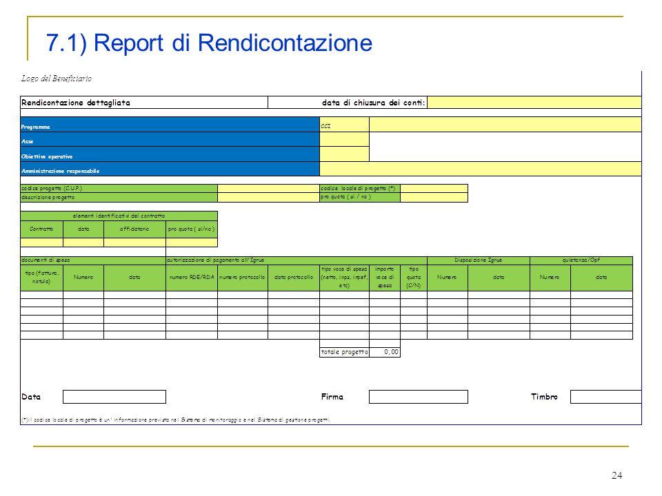 24 7.1) Report di Rendicontazione