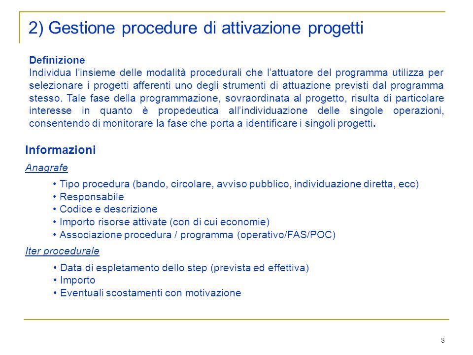 8 2) Gestione procedure di attivazione progetti Definizione Individua linsieme delle modalità procedurali che lattuatore del programma utilizza per selezionare i progetti afferenti uno degli strumenti di attuazione previsti dal programma stesso.
