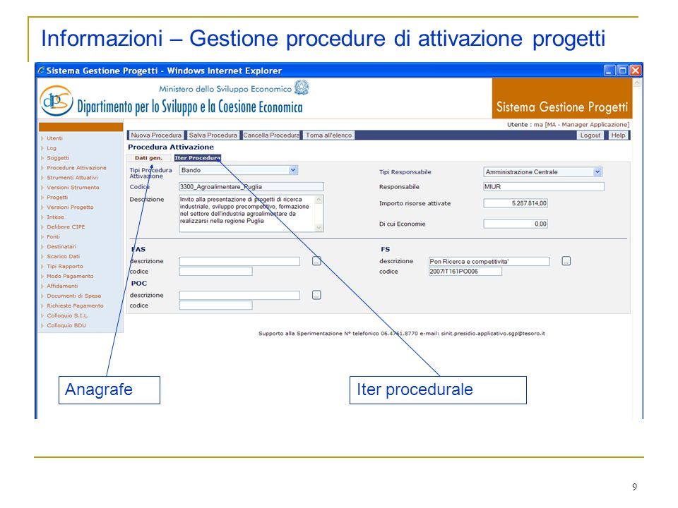 9 Informazioni – Gestione procedure di attivazione progetti AnagrafeIter procedurale