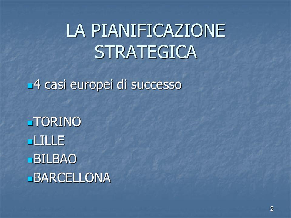 2 LA PIANIFICAZIONE STRATEGICA 4 casi europei di successo 4 casi europei di successo TORINO TORINO LILLE LILLE BILBAO BILBAO BARCELLONA BARCELLONA