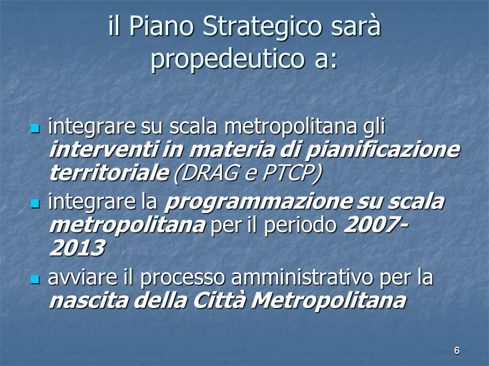 6 il Piano Strategico sarà propedeutico a: integrare su scala metropolitana gli interventi in materia di pianificazione territoriale (DRAG e PTCP) int