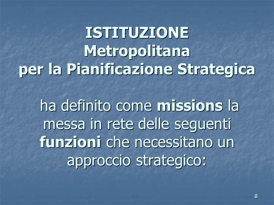 8 La funzione dellIstituzione ISTITUZIONE Metropolitana per la Pianificazione Strategica ha definito come missions la messa in rete delle seguenti fun