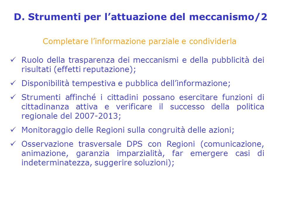 D. Strumenti per lattuazione del meccanismo/2 Completare linformazione parziale e condividerla Ruolo della trasparenza dei meccanismi e della pubblici