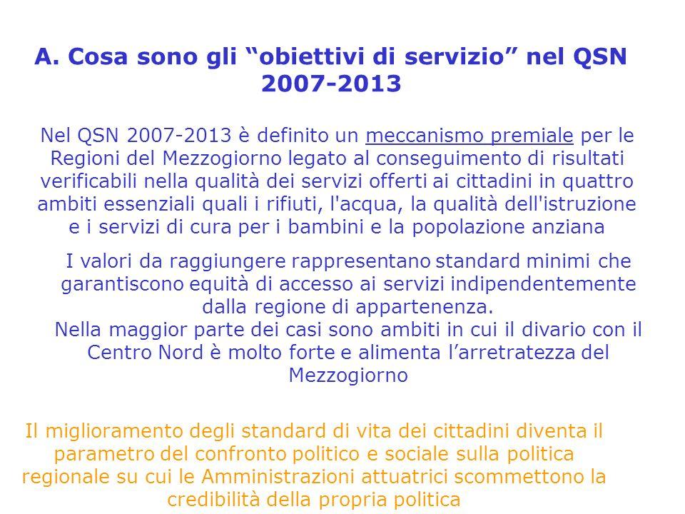 A. Cosa sono gli obiettivi di servizio nel QSN 2007-2013 Nel QSN 2007-2013 è definito un meccanismo premiale per le Regioni del Mezzogiorno legato al